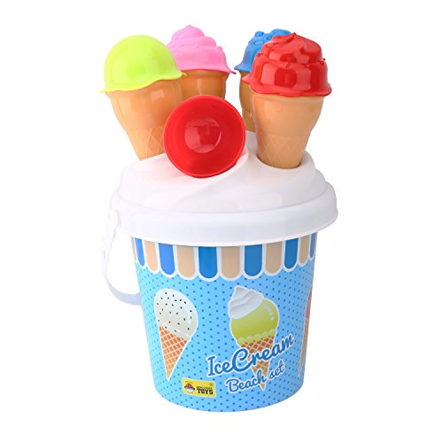 Zooawa Beach Sand Toy Set, Kids Ice Cream Sand Models Bucket Set Playing Kits Food Play Decorations with Pail for Beach Parties, Birthdays, Indoor Outdoor Seaside Creative Playthings, Colorful