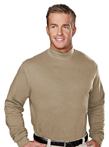 - Tri-Mountain Men's Interlock Mock Turtleneck Shirt, Khaki, Large