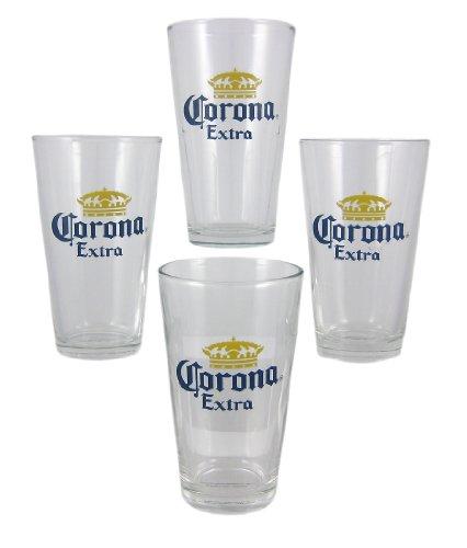 Set of 4 Corona Extra Beer Pint Glasses Cerveza