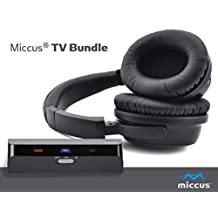 Miccus TV/Gaming Bundle 1 - Everything needed for apt-x Low Latency wireless audio, includes Over ear Headphones w_Mic and Bluetooth transmitter with Optical or 3.5mm