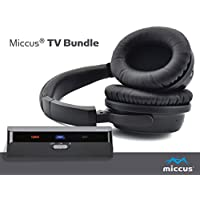 Wireless Headphones for TV with Optical Bluetooth 4.1 Transmitter System, Listen to Your TV in HD with No Audio Delay, Paired and Ready to Use, aptX Low Latency premium sound hard of hearing - Miccus