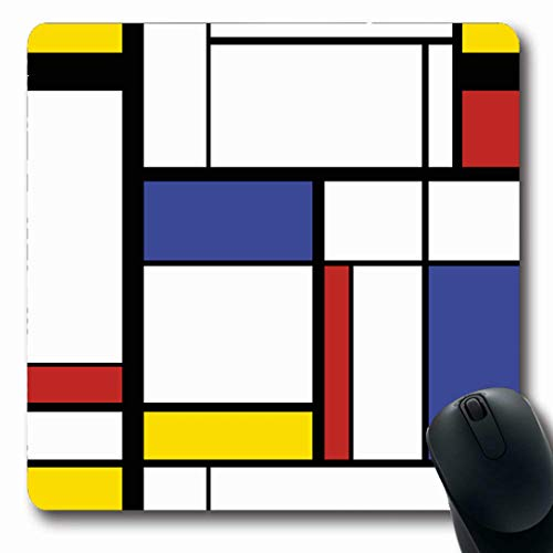 Ahawoso Mousepads for Computers Grid Blue Pattern Abstract Modern Painting Mondrian Avant Bauhaus Geometric Rectangle Cubism Color Oblong Shape 7.9 x 9.5 Inches Non-Slip Oblong Gaming Mouse Pad