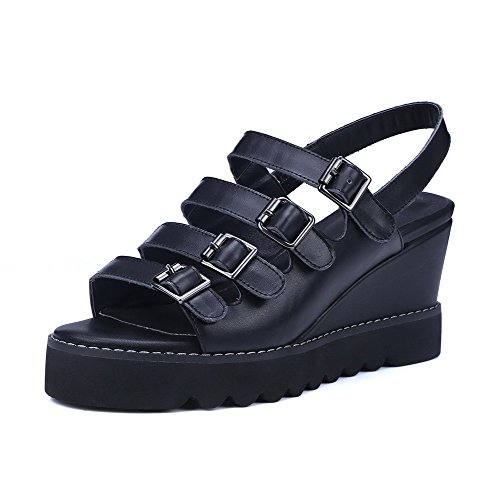 AmoonyFashion Womens Solid Cow Leather High-Heels Open-Toe Buckle Sandals Black uJeJtB