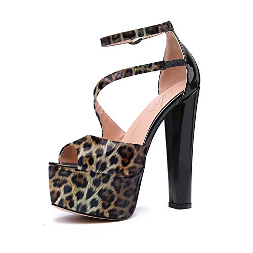 Cdvintu Peep Toe Platform Block Chunky High Heels Asymmetric Cross Ankle Strap with a Side Buck Fastenging Heeled Sandals for Women (9, Leopard to Black)