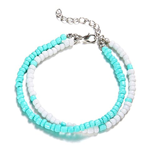Chrikathy Women Fashion Classic Resin Double Beads Blue White Anklet Round Beach Section Foot Chain Unique Jewelry Gift - Pendants Classic Diamond Heart Necklaces