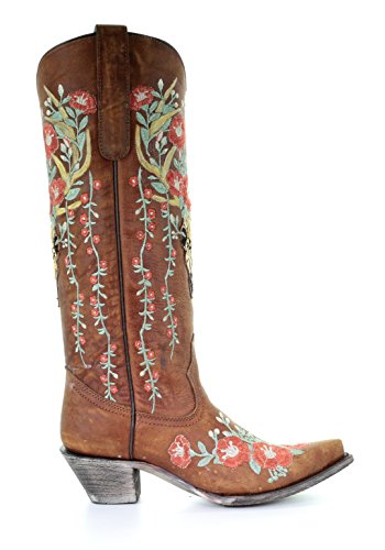 Skull Women's Deer Juliet Boots Floral Overlay Tan CORRAL Cowgirl Embroidery qdPtwEqU