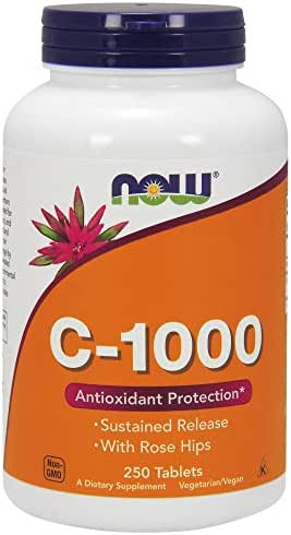 NOW Supplements, Vitamin C-1000 Sustained Release with Rose Hips, 250 Tablets