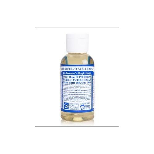 Dr. Bronner's Liquid Organic Castile Soap Peppermint 2oz All-Purpose (3-Pack)