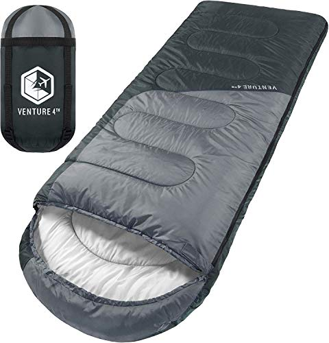 VENTURE 4TH Backpacking Sleeping Bag – Lightweight Warm & Cold Weather Sleeping Bags for Adults, Kids & Couples – Ideal for Hiking, Camping & Outdoor Adventures – Single, XXL and Double