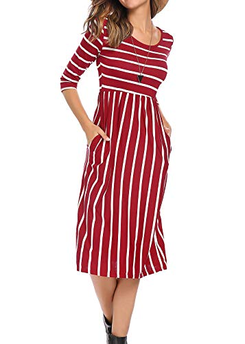 Women's Contrast Striped 3/4 Sleeves Paneled Midi Flared Dress L, Wine Red