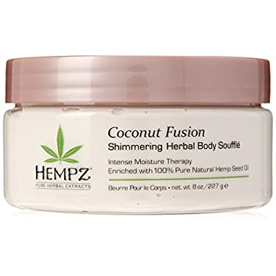 Hempz Coconut Fusion Herbal Shimmering Body Souffle, 8 oz. – Moisturizing Shea Butter Lotion for Instant Hydration, Skin…