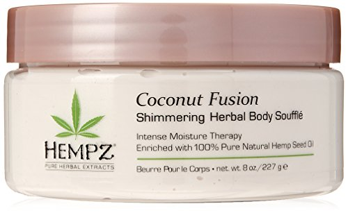 Hempz Coconut Fusion Herbal Shimmering Body Souffle, 8 oz. - Moisturizing Shea Butter Lotion for Instant Hydration, Skin Care, Scented Beauty Products for Women and Men - Whipped Hemp Body Cream