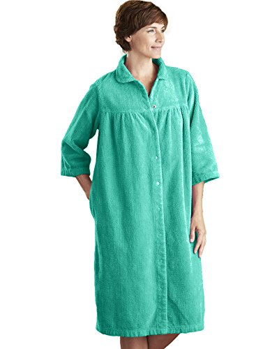 National Chenille Gripper Robe, Jade, 3X