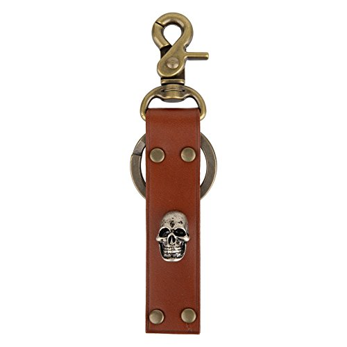 Genuine Leather Keychain Solid Metal Bronze Gold Silver Handmade Key Ring fob Lanyard (Brown-Skull Studded)