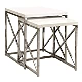 Monarch Specialties I 3025, Nesting Table, Chrome Metal, Glossy White, Table Set, 2 pcs