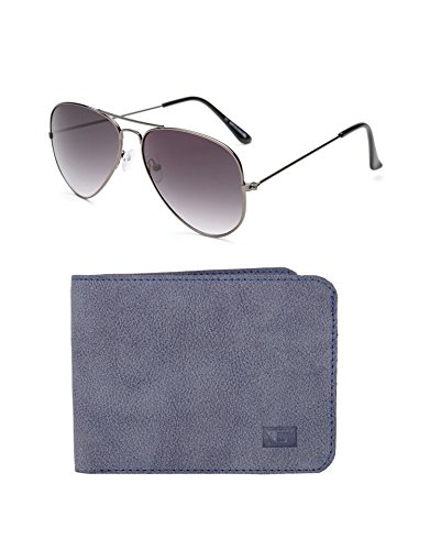 Gansta Aviator Sunglasses With Wallet (Blue Grey) (GW-1001)