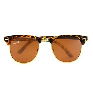 Polarized TortoiseShell Amber Sunglasses Vintage Gold Trim Mens & Womens Design by Cali Trend