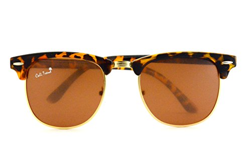 Polarized TortoiseShell Amber Sunglasses Vintage Gold Trim Mens & Womens Design by Cali - Brands Name Sunglasses