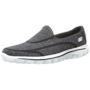 Skechers Performance Women's Go Walk 2 Super Sock Slip-On Walking Shoe,Old Black White,12 M US