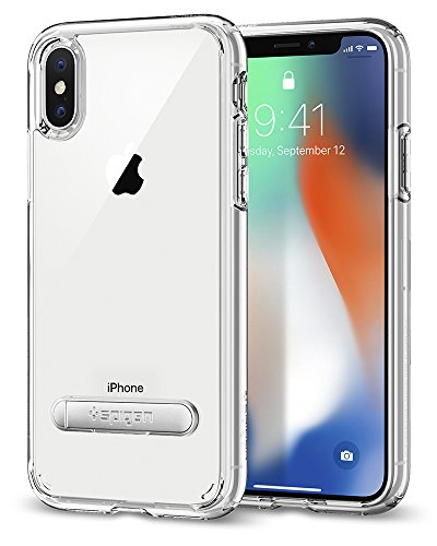Spigen Ultra Hybrid S iPhone X Case with Air Cushion Technology and Magnetic Metal Kickstand for Apple iPhone X (2017) – Crystal Clear