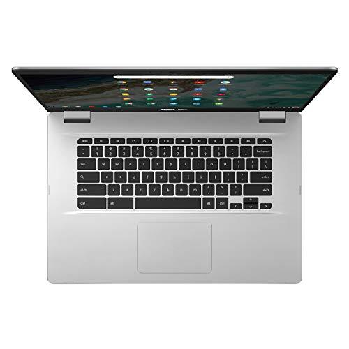 "ASUS Chromebook C523 Laptop- 15.6"" HD NanoEdge Display with 180 Degree Hinge, Intel Dual Core Celeron N3350 Processor, 4GB RAM, 32GB eMMC Storage, Chrome OS- C523NA-DH02 Silver Color"