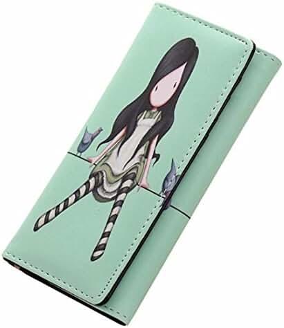 Button Cartoon Wallet,Hemlock Girl Long Handbag Graffiti Printing Purse Wallet (Green)