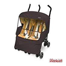 [Manito] Elegance Alpha Twin Cover / Cover for Twin Baby Stroller and Pushchair, Rain Cover, Wind Weather Shield for outdoor strolling, Eye Protective Wide Windows (Choco)