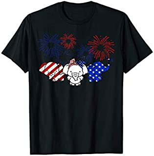 Elephants American Flag Firework Independence Day T-shirt | Size S - 5XL