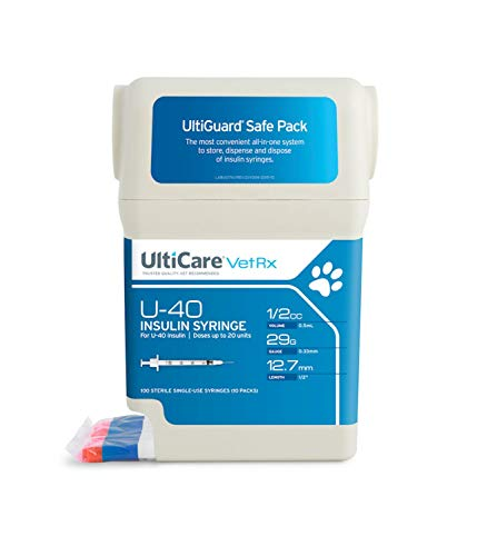 UltiCare VetRx U-40 UltiGuard Safe Pack Pet Insulin Syringes 1/2cc, 29G x 1/2
