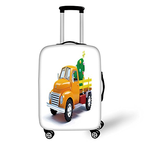 Travel Luggage Cover Suitcase Protector,Christmas,Yellow Vintage Truck and Decorated Tree with Star Topper Old Farm Motor,White Yellow Green,for Travel (Topper Tree Kohls)