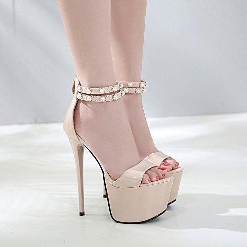 KPHY Sommer 16Cm Wasserdichte Hohe Schuhe Sandalen Wasserdichte 16Cm Plattformen Sexy Damenschuhe Walking Damenschuhe. 97decb