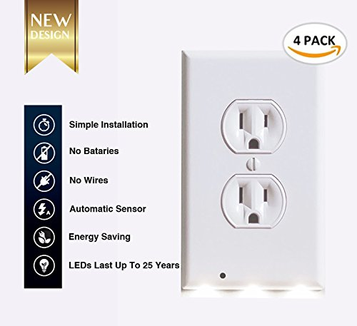 (4 PACK) - Outlet wall plate with Led night light – Guidelight - Cover with Led light - Outlet wall cover with Led night light - Built in sensor - No wire - White (DUPLEX 4 - Built New Night Light In