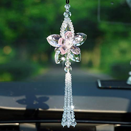UZHOPM Fashion Car Rear View Mirror Pendant Crystal Ornament Lucky Crystal Ball Car Accessories Car Home Decoration White