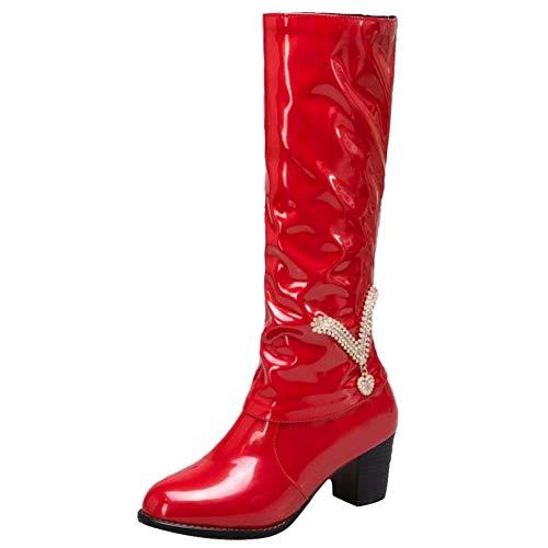 Razamaza Femmes Hautes Bottes Rouge Bloc Mode Talon wRngqv40