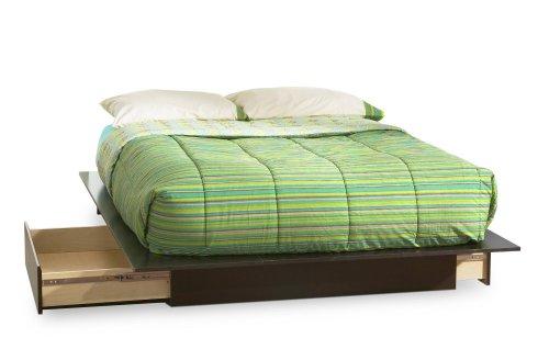 South Shore Back Bay Dark Chocolate Queen Wood Storage Platform Bed 3 Piece Bedroom Set