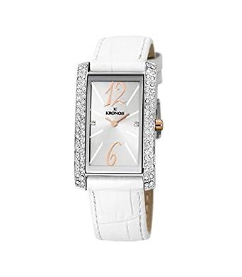 Kronos - Ladies Bicolor 918.33 - Reloj de seÑora de cuarzo - correa de piel blanca - color esfera: plateada
