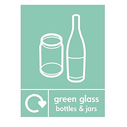 Botellas y tarros de cristal verde reciclado señal 300 mm x 400 mm plástico rígido