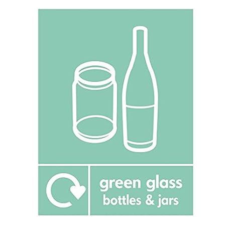 Botellas y tarros de cristal verde reciclado señal 300 mm x ...