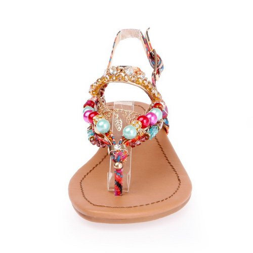 AmoonyFashion Womens Thong Toe Flats Cotton Soft Material Assorted Colors Sandals with Rhinestones Multicoloured FN8uIP