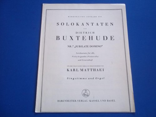 Jubilate Domino (Nr. 7): Solokantate Fur Alt, Viola Da Gamba (Violoncello) Und Basso Continuo, Singstimme Und Orgel (Sheet Music)