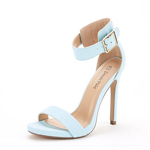 Blue Strap Sandals - DREAM PAIRS ELEGANTEE Women's Evening High Heels Open Toe Ankle Strap Platform Casual Stiletto Pumps Sandals POWDER BLUE SIZE 7