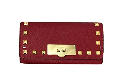 Michael Kors Callie Stud Saffiano Leather Carryall Wallet (Cherry) by Michael Kors