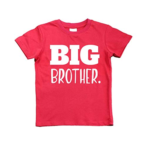 Big Brother Shirt for Toddler Promoted to Best Big Brother Announcement Baby Boys (Red, 3y)