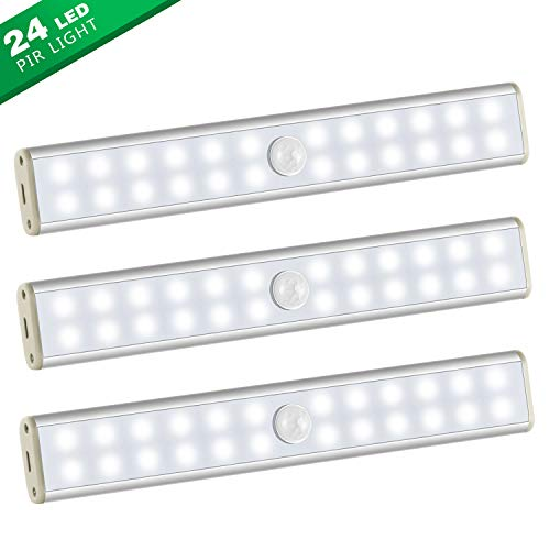 Under Cabinet Lighting,Wireless 24 LED Light 3 Packs with Built-in 1000mAh Rechargeable Battery,Motion Sensor Night Light-Security Dimmable,Portable Magnetic Closet Light for Closets Stairs Kitchen