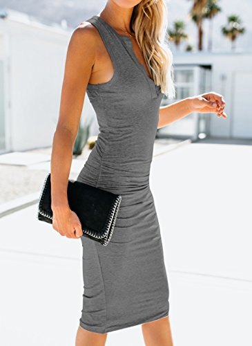 Sommer Damen Mode V Neck Ärmelloses Midi Kleid Wickelkleider Sexy ...