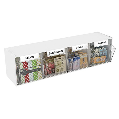 Deflecto Interlocking Tilt Bin Organizers, Four Bin (20403CR) by Deflecto