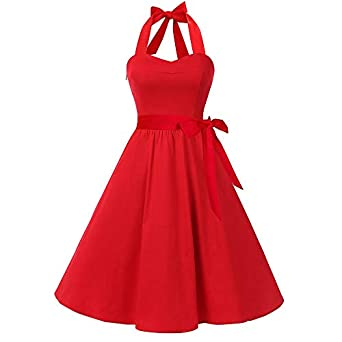 YWLINK Party Dresses for Women Sleeveless Solid Zipper Vintage Elegant Design High-Waist Pleated Dress Cocktail Petticoat Midi Swing Dress Night Gown