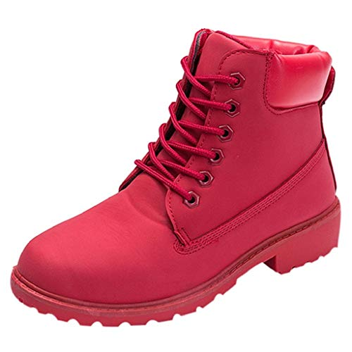 Creazrise Women's Lace Up Low Heel Work Combat Boots Waterproof Ankle Bootie Round Toe Shoes (Red,8)