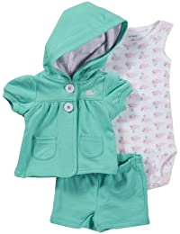 Carter's Baby Girls' 3 Piece Cardigan & Shorts Set (Baby)