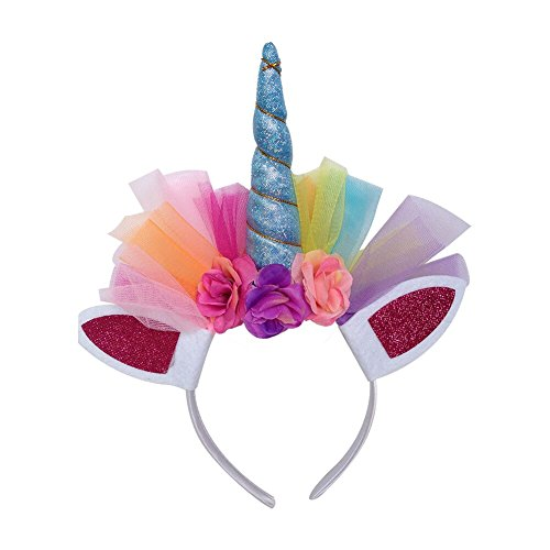 Girls Kids Unicorn Horn Flower Rainbow Mesh Headband Animal Ear Headband Birthday Party Favors(Blue)